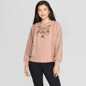 Knox Rose Floral Embroidered Sweater Size XXL